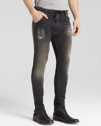 Diesel Jeans Krooley Jogg Slim Fit in Grey Destructed - Lyst