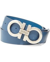 Ferragamo Double Gancini Leather Belt - Lyst