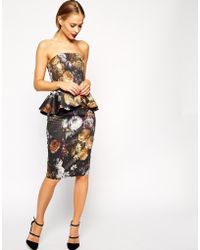 Asos Smokey Floral Peplum Dress - Lyst