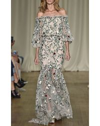 Marchesa Off The Shoulder Gown with All Over Embroidery - Lyst