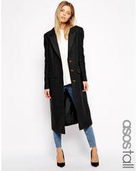 Asos Tall Midi Coat In Wool - Lyst