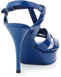 Saint Laurent Tribute Midheel Leather Platform Sandal Blue Majorelle - Lyst