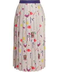 Mary Katrantzou Pleated Printed Satintwill Midi Skirt - Lyst