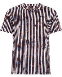 McQ by Alexander McQueen Worn Stripe-Print Cotton T-Shirt - Lyst