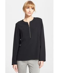 Stella McCartney Long Sleeve Stretch Cady Top - Lyst