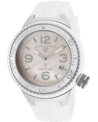 Swiss Legend - Neptune (44 Mm) Silver-Tone Case White Silicone White Mop Dial - Lyst