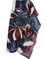 Marni Rafia Jacquard St Capucine Skirt in Navy Multi - Lyst