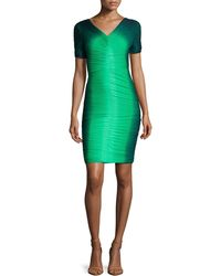 Halston Heritage Short-sleeve Ruched Ombre Dress - Lyst