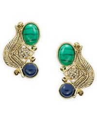 House of Harlow 1960 Stone And Feather Clustered Earrings