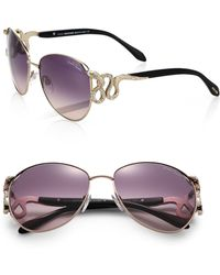 Roberto Cavalli Serpent Crystal-Embellished Sunglasses/Gold - Lyst
