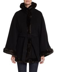 Ellen Tracy - Belted Faux-Fur Trimmed Cape Coat - Lyst