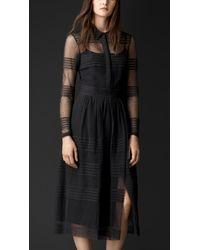 Burberry Sheer Cotton Shirt Dress - Lyst