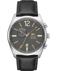 Lacoste Mens Austin Black Leather Strap Watch 44mm - Lyst