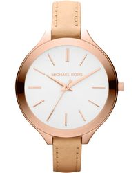 Michael Kors Mid-size Nude Leather Runway Watch - Lyst