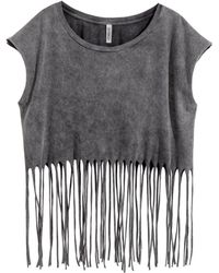 H&M Fringed Top gray - Lyst