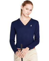 Ralph Lauren Golf Cotton V-Neck Sweater - Lyst