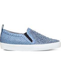 Gina - Preziosa Embellished Python-leather Skate Shoes - Lyst