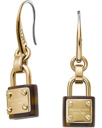 Michael Kors Goldtone Tortoiseshell Padlock Earrings - Lyst