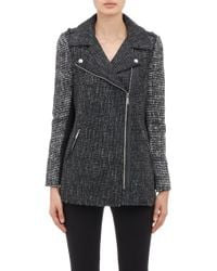 Barneys New York Tweed Moto Jacket - Lyst