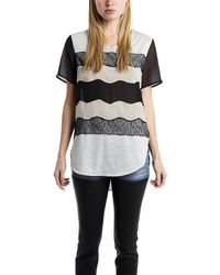 3.1 Phillip Lim Curved Hem Tee With Lace Applique - Lyst