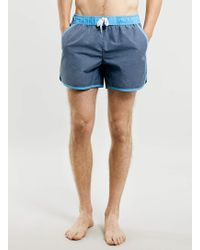 Topman Blue Acid Wash Swim Shorts - Lyst