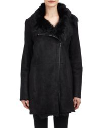 Vince Black Shearling Coat - Lyst