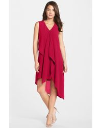 Adrianna Papell | Ruffle Front Crepe High/low Dress | Lyst