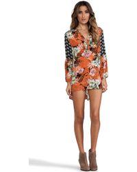Tolani Devina Tie-Neck Printed Tunic/Dress - Lyst