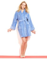 Tommy Hilfiger Blue Plush Robe - Lyst