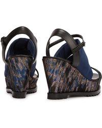 Markus Lupfer - Brocade-Panelled Wedge Sandals - Lyst