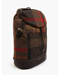 Paul Smith Mens Checked Wool and Leather Backpack - Lyst