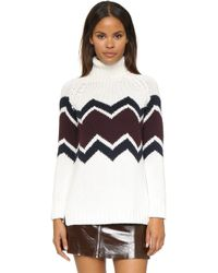 525 America Hand Knit Turtleneck Sweater - White Cap Combo - Lyst