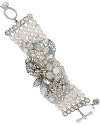 Betsey Johnson Pearl Crystal Toggle Bracelet - Lyst