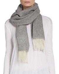 Versace Herringbone Wool Fringe Scarf - Lyst