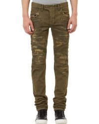 Balmain Distressed Denim Moto Jeans - Lyst