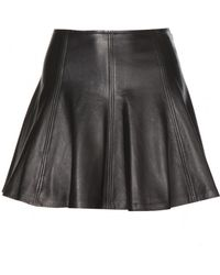 Ralph Lauren Leather Skater Skirt - Lyst