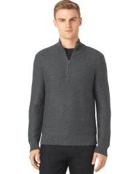 Calvin Klein Gray Quarter-zip Sweater - Lyst