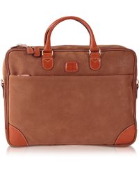 Bric's Life Micro Suede Camel Double-Gusset Soft Briefcase - Lyst