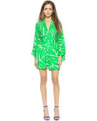 Issa Poppette Silk Kimono Dress - Green Glow - Lyst