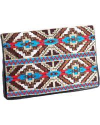 Deepa Gurnani - Leather Tribal Clutch - Lyst