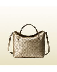 Gucci Bree Ssima Leather Top Handle Bag beige - Lyst