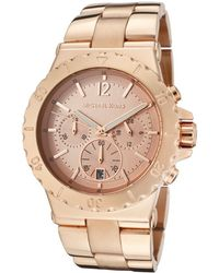 Michael Kors Chronograph Rose Gold Tone Dial Rose Gold Tone Ion Plated Stainless Steel - Lyst