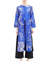 Swati Kalsi - Women's Long Embroidered Collarless Jacket In Blue - Lyst