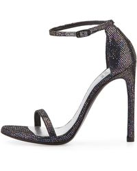Stuart Weitzman Nudist Glitter Leather Sandal multicolor - Lyst