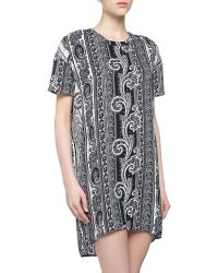 Pencey - Short-Sleeve Baroque Charmeuse Shift Dress - Lyst
