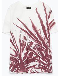 Zara Short Sleeve T-Shirt red - Lyst