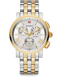 Michele Sport Sail 18K Goldplated & Stainless Steel Large Chronograph Bracelet Watch - Lyst