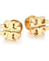 Tory Burch T Logo Large Stud Earrings/Goldtone - Lyst
