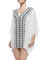 Alice + Olivia Cordela Embroidered Sheer Silk Coverup - Lyst