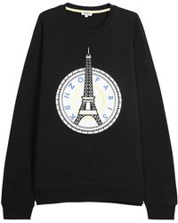 KENZO - Black Eiffel Tower Cotton Sweatshirt - Lyst